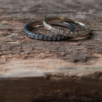 Thin Stacking Diamond Wedding Band in your choice of metal