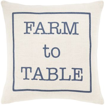 "Circa ""Farm To Table"" Throw Pillow - White"
