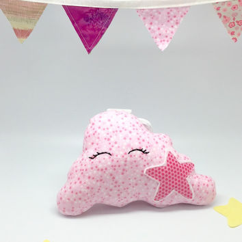 Stuffed pink cloud with pink star soft plush cotton fabric cloud cushion pillow, cotton flannel soft cloud nursery for baby crib decor