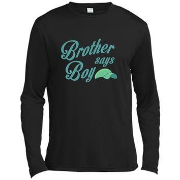 Graphic Brother Say Boy Blue Gender Reaveal Announcement - Cute T-shirt Long Sleeve Moisture Absorbing Shirt
