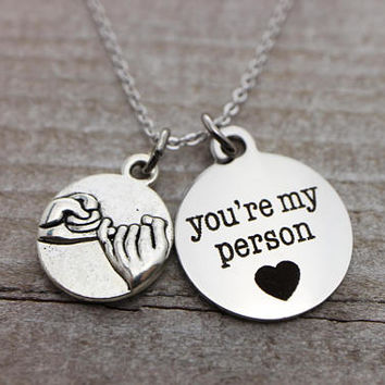 You're my person, promise silver necklace