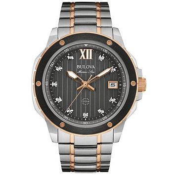 Bulova Mens Diamond Marine Star - Stainless & Rose Tone - Black Dial - Date