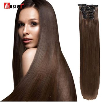 "AOSIWIG 24"" 130g 16 Clips Blond Synthetic Clips in Hair Extension Long Straight Hair pieces Brow Black Gray Color"