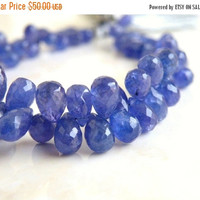 Sale Outstanding Tanzanite Gemstone Faceted 3d Teardrop Briolette Periwinkle Blue Purple 8mm 9 beads
