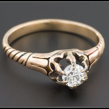 Antique Diamond Engagement Ring, 0.25ct, 14k Gold Ring