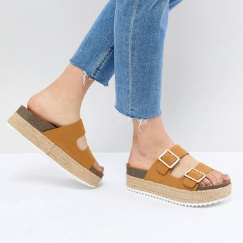 Pull&Bear flatform double buckle sandal in tan at asos.com