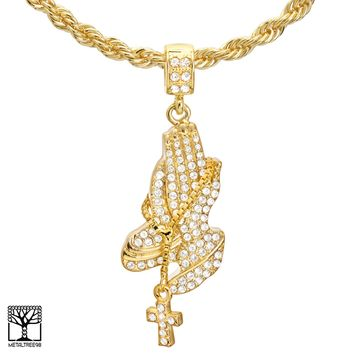 """Jewelry Kay style Men's Gold Plated Pray Hand with Cross Pendant 22"""" Chain Necklace HC 1176 G"""