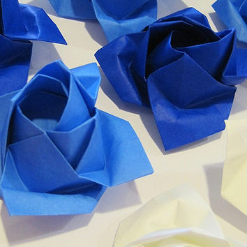 Blue Rose Origami Flower for Baby Boy Baby Shower Decor or Something Blue Wedding Decoration Deep Blue and White Origami Roses Paper Flower