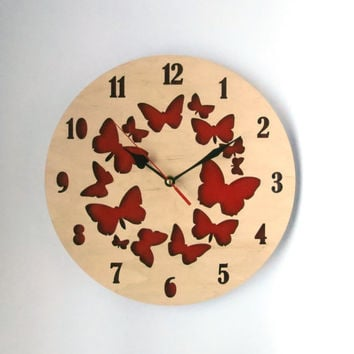 Large Wall Clock, SALE, Wooden Wall Clock, red clock with butterflies