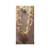 46inches of Cultured Freshwater Blister Pearls with removable Fleur de Lis Pin/Pendant and Earrings