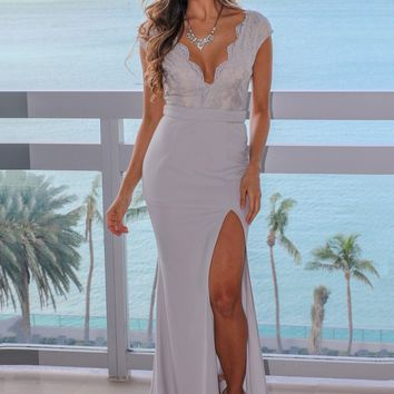 Light Gray Lace Top Maxi Dress with Side Slit