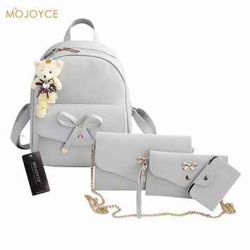 4pcs Preppy Chic Women PU Leather Backpack Shoulder Bag Clutch Bag Bowknot Backpack Simple Female Backpack Mochilas Escolar