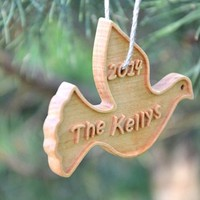 Personalized Wooden Christmas Ornament, Custom Wood Dove Holiday Decor