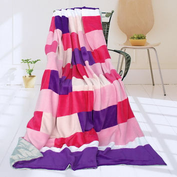 Onitiva - [Purple Mood] Soft Coral Fleece Patch Throw Blanket