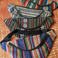 Festival Hipster Tribal Fanny pack boho Styles cycling bag Hippie phanny waist Bum bag Ethnic Ikat Bohemian Stripes Multicolor in blue men