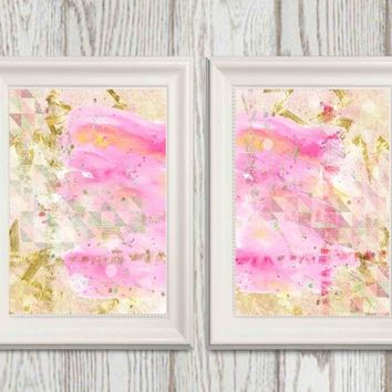 Pink and Gold abstract print Modern art Abstract Watercolor art Printable wall decor Gold foil 8x10 16x20 DOWNLOAD Girls Bedroom Set of 2