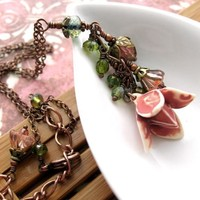 Blush Rose Garden Necklace  Romantic VintageStyle by ShySiren