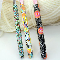 Bates polymer clay crochet hooks set of 3, OOAK handmade designs, sizes F5, G6 and size 7