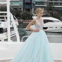 Beading V-Neck Prom Dresses ,Floor Length Prom Dress,Evening Dress