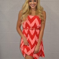 Summer Intern Belted chevron Dress CORAL - Modern Vintage Boutique