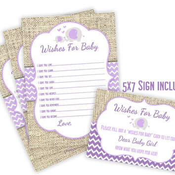 Elephant Wishes for Baby - Printable Wishes for Baby Girl - Instant Download - Elephant Baby Shower - Lavender - Burlap - Card and Sign