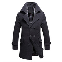 Men Cotton Blends Coat Long Jacket Double Breasted Overcoat SM6