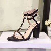 """VALENTINO"" new thick heels fashion women shoes"