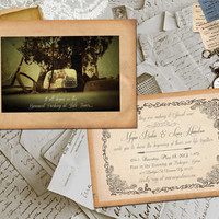 "50 Wedding Invitation Card - Armelle Vintage Photo Personalized 5""x7"""