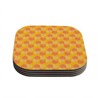"Apple Kaur Designs ""Wild Summer Dandelions"" Gold Circles Coasters (Set of 4)"