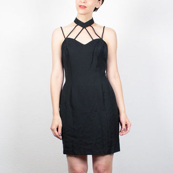 Vintage 80s Dress 1980s Black Dress Mini Dress Cage Dress Cut Out Neckline Choker Dress Club Kid Party Backless Dress Goth Dress S Small
