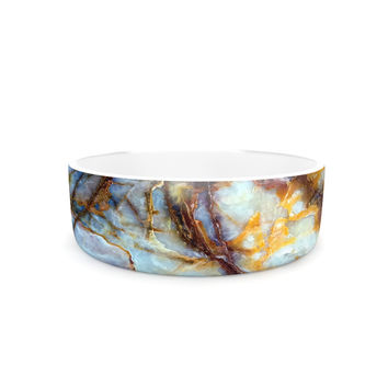 "KESS Original ""Opalized Marble"" Blue Brown Pet Bowl"