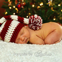 Baby Christmas Hat - Stocking Hat - Elf Hat - Newborn Hats - Any Color - Newborn or 1 to 3 Month - Pom Pom - Beautiful Photo Prop - SALE