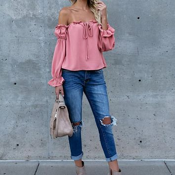 Off the Shoulder Length Sleeve Regular Fit Party Wear Blouse Ruffle Trim Smocked Bardot Top