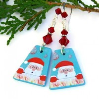 Santa Earrings, Christmas Holiday Jewelry Polymer Clay Swarovski Crystals for Women