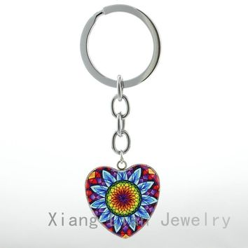 Flower Of Life Heart Pendant key chain ring Mandala art Spiritual Yoga Jewelry Metaphysical Sacred Geometry women keychain HP87