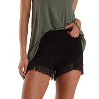 Black Fringe-Trim High-Waisted Shorts by Charlotte Russe