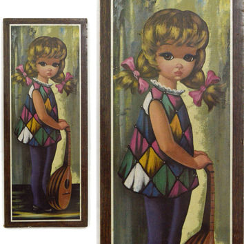 Vintage 60s Big Eye Harlequin Moppet Girl w/ Mandolin Mod Kitsch Art Print Lithograph