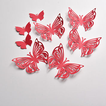 Butterfly Paper Art, Red Butterfly Party, Butterfly Home Decor, Wall Butterflies