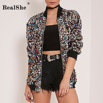 RealShe 2018 Autumn Woman Coat Women Long Sleeve Zipper Bomber Jacket Women Sequins Basic Coats Casual Windbreaker Outwear