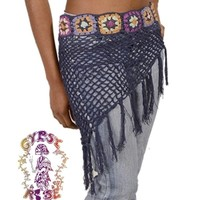 SHAKE RATTLE N' ROLL CROCHET HIP SCARF WITH FRINGE: Gypsy Rose
