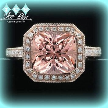 Morganite Engagement Ring Cushion Cut 14K Rose Gold Diamond Halo