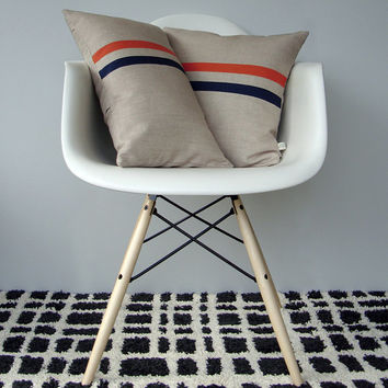 Coral and Navy Striped Pillow Set - (12x20) and (16x16) by JillianReneDecor - Modern Home Decor - Mid Century Inspired