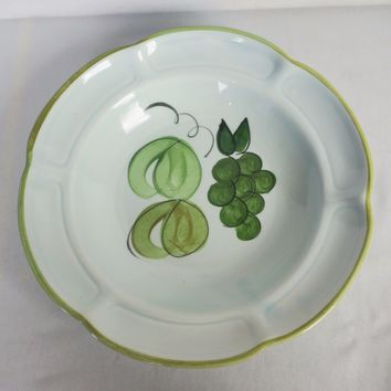 """Rare Vintage Set of 4 Los Angeles Potteries 11"""" Bowls #301 Pear And Grapes"""