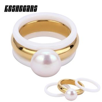 New Arrival 3pcs/Set 2 White Ceramic Rings & Big Pearl With Gold Ring Fashion Jewelry For Women Beautiful Wedding Party Jewelry