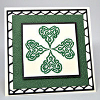 Embroidered Shamrock Card Celtic Knot Shamrock Card St. Pattys Day Card