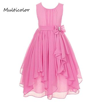 Princess Girls O-neck Sleeveless Spring Summer Wedding Dresses Floral Bow Gown Party Dresses Daily Dress For Children 2-12 years