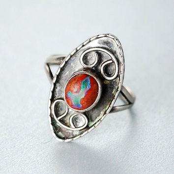 Vintage MEXICAN Fire Opal Ring, Red Opal Ring, Boulder Opal Ring, MEXICAN Sterling Silver Ring, SIZE 7, 1940s Fine Jewelry