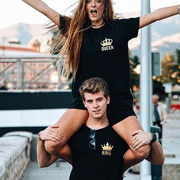 Cool Valentine's Gift Funny Couple T Shirts King And Queen Love Matching Tees Tops Outfits Poleras De Mujer Moda 2018 For Him and herAT_93_12