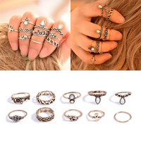 Bohemian 10pcs Pack Vintage Elephant Moon Rings Lucky Stackable Midi Rings Set of Rings for Women Jewelry Party Free Shipping