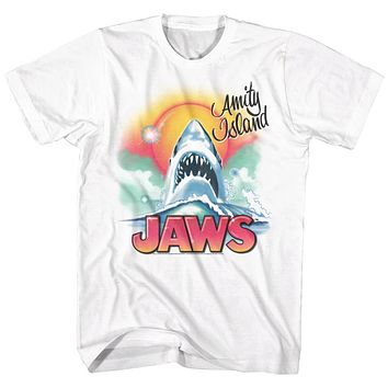 Jaws Tall T-Shirt Shark Airbrush Portrait White Tee